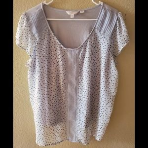 Lauren Conrad 2X Embroidered Lace Sheer Boho Top
